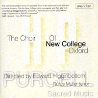 Oxford New College Choir : Sacred Music of Henry Purcell : 00  1 CD : Edward Higginbottom : Henry Purcell : 84432